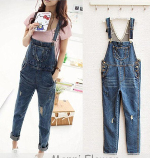 jeans fashion in 2013 denim jumpsuits rompers washing jean pants wear for women  I0025