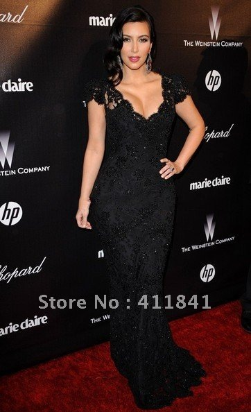 Kim Kardashian Black Beaded Lace Evening Gown Celebrity Dress custom made 2012 Golden Globes Party