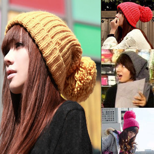 Knitted hat winter thermal Women casual handmade knitted ball cap