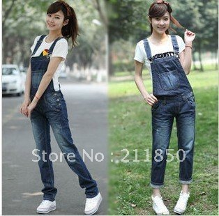 Korea Denim overalls new loose lovely large size harness piece pants women Rompers free shipping