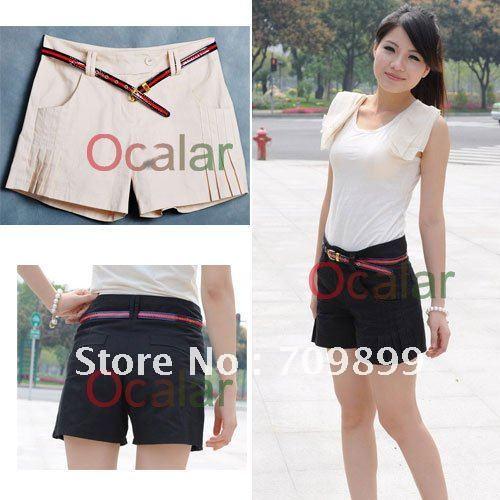 Korea New arrival fashion Hight waist Mini Fit trousers short pants Summerwear side Drape loose OL Lady Casual E0455
