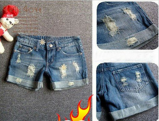 Korea New beauty necessary jean shorts Do the old worn retro fashion personality denim shorts hot pants  Free Shipping