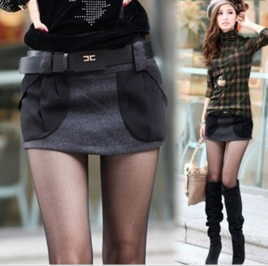 Korea Version Big Pockets Shorts Fashion Women Hot Pants Dark-Gray S to XL Boots Pant Shitsuke Low-Waist Spring/Autumn Worsted