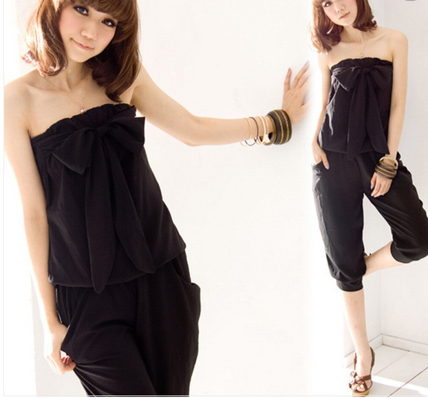 Korea Women Bowknot Strapless Jumpsuits Rompers Casual Cropped Pants 2 Colors