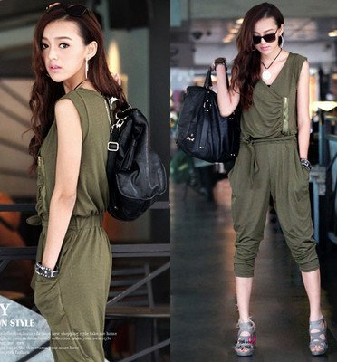 Korea Womens Casual Hiphop V-neck Tank Jumpsuit Romper Mid-Calf Pant P908#