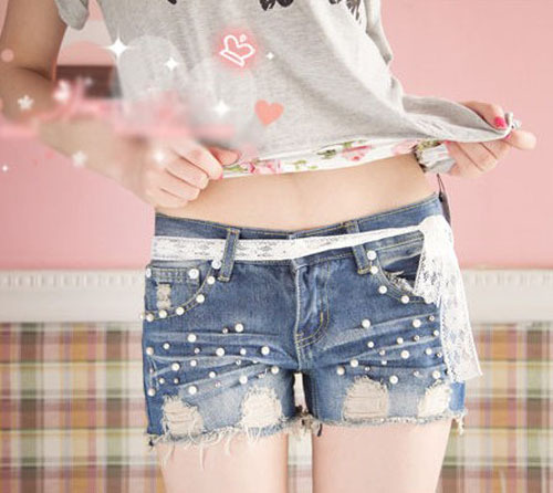 Korean 2013 Fashion Pearl Hole Shorts Decorative Lace Lacing Female Bull-puncher Knickers sl13010711