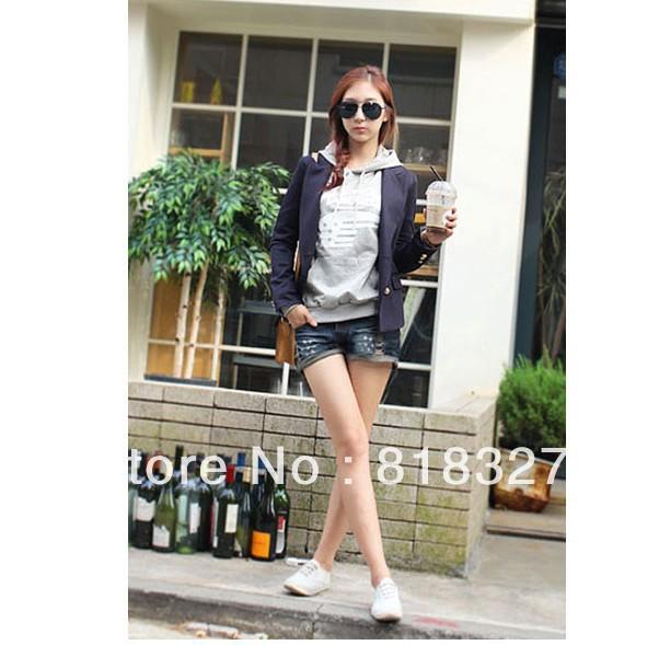 Korean edition loose leisure frayed cuffs Slim thin jeans