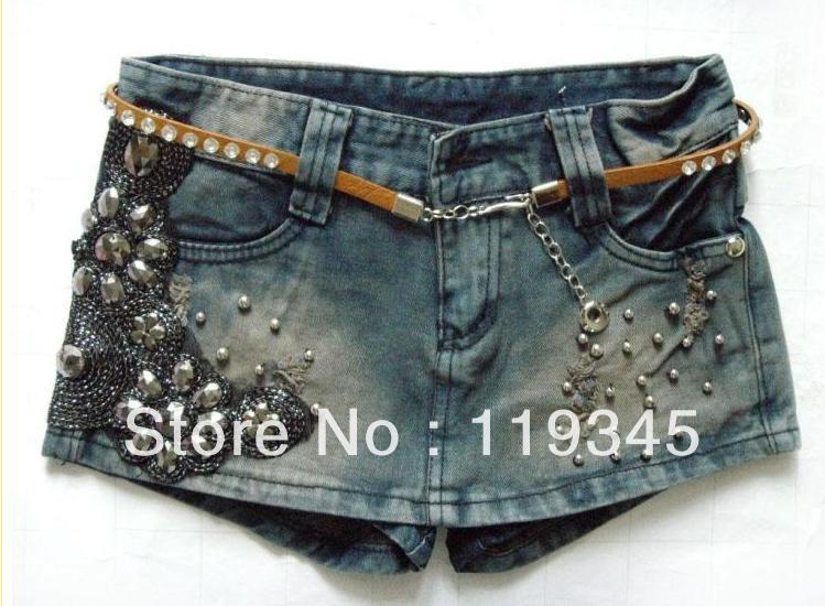 Korean edition of tidal current low waist jeans show package hip shorts skirts pants