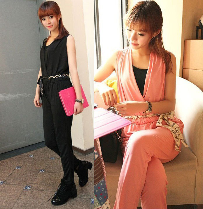 Korean Fashion Womens Trendy Ladies Sleeveless Deep V Neck Jumpsuit Pink Black