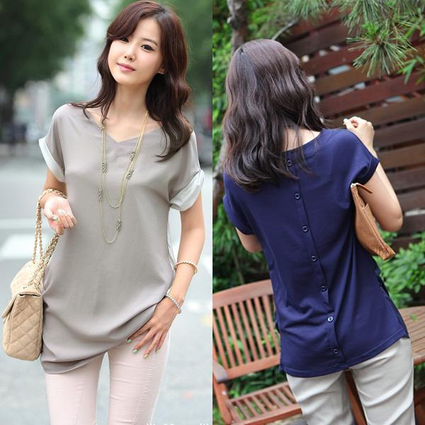 Korean Style Womens Short Sleeve Chiffon Cotton Casual Tops T-Shirt Blouse A1393