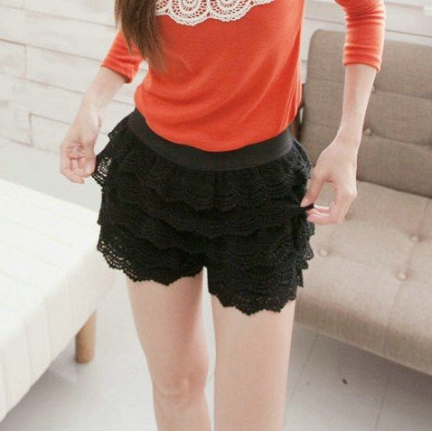 Korean sweet style lace shorts, cascading lace ruffles short pant, vintage free shipping 3006