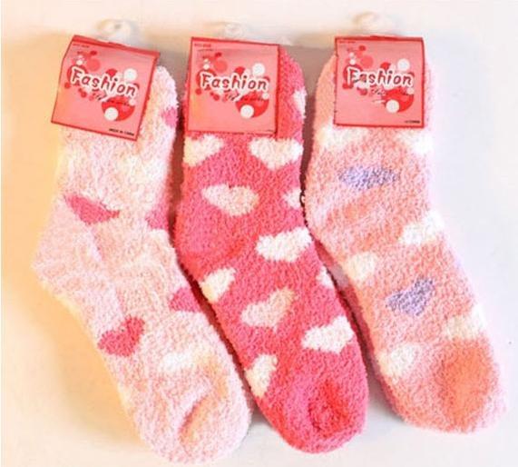 Korean thick Plush candy colored towel socks / floor socks ( love )