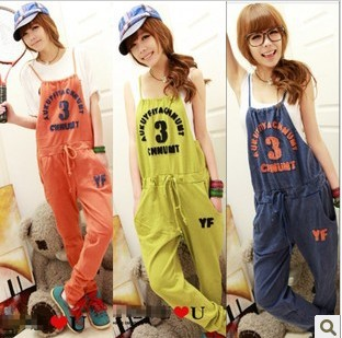 Korean trend of women overalls leisure pants fashion suspenders movement Jumpsuit