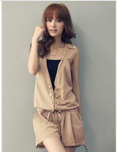 Korean version of Ruili double metal buckle sleeveless drawstring waist shorts Playsuit,FREE SHIPPING Guangzhou sadonglei