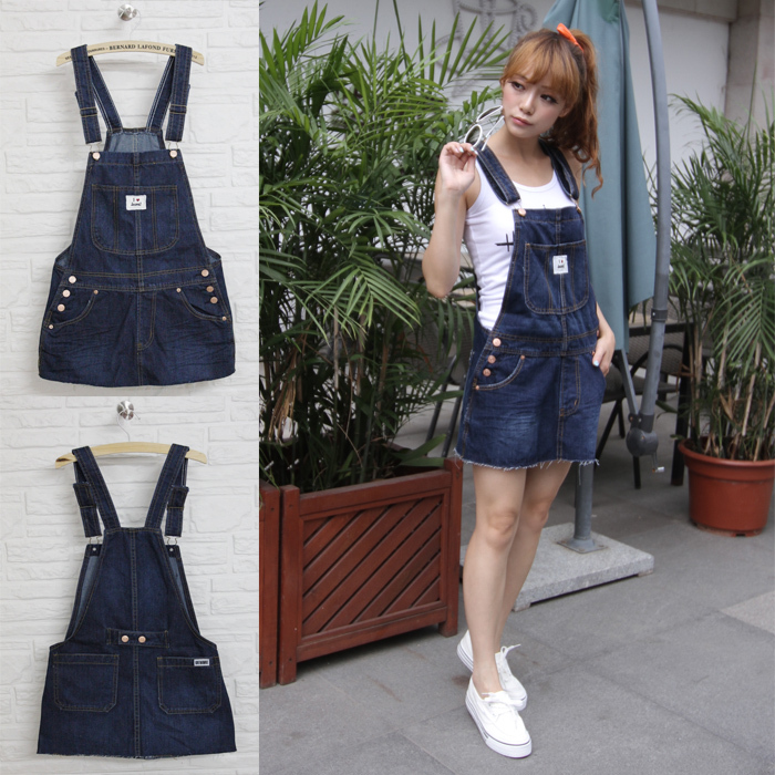 Korean version of the new tide lovely slim Cowboy short skirt ladies denim dress Women Overalls Jeans Jumpsuit Free shipping
