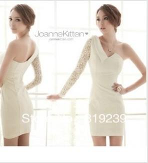 Korean Women 2013 new nightclub sexy fashion shoulder strapless lace sleeve dress with single sleeve
