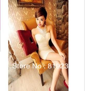Korean Women 2013 new nightclub sexy gem Halter Bra Slim package hip minidress