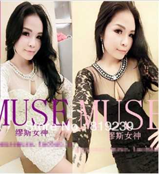 Korean Women 2013 new nightclub sexy lace dress long sleeve gauze perspective packet of hip skirt