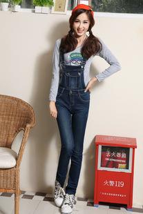 Korean women new denim overalls Slim thin Korean suspenders Jumpsuit x2579,drop shipping