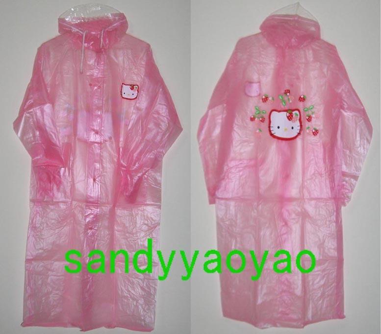Kt adult raincoat kitty cartoon raincoat walking pink