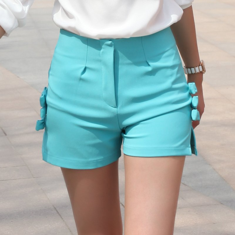 Kz274 summer ice cream candy color butterfly high waist slim short trousers shorts female