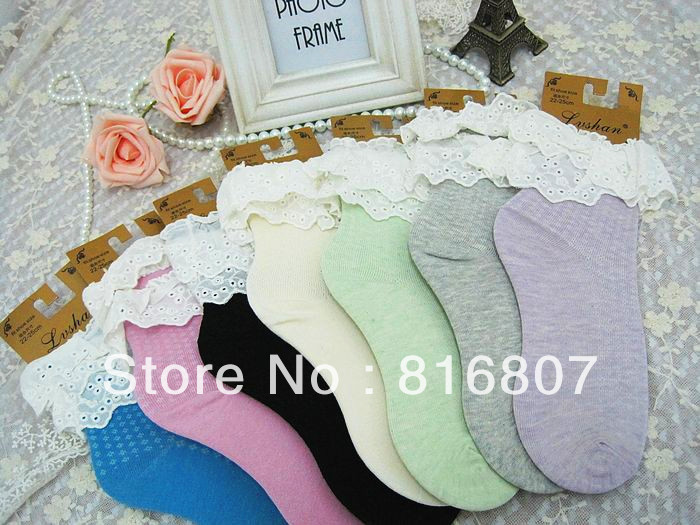 lace decoration women socks 100% cotton socks