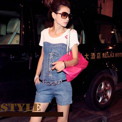 Lace Up jumper off shouler overall casual teddy