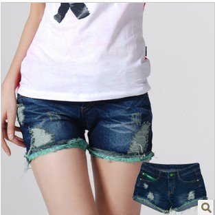 Ladies 2013 Spring Frayed Lace Lining Denim Shorts Patchwork Plus Large Straight Shorts Pants Wholesale