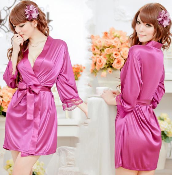 Ladies  sexy Pajama bathrobeKimono bath robe +G String  Free Size Free Shipping X274