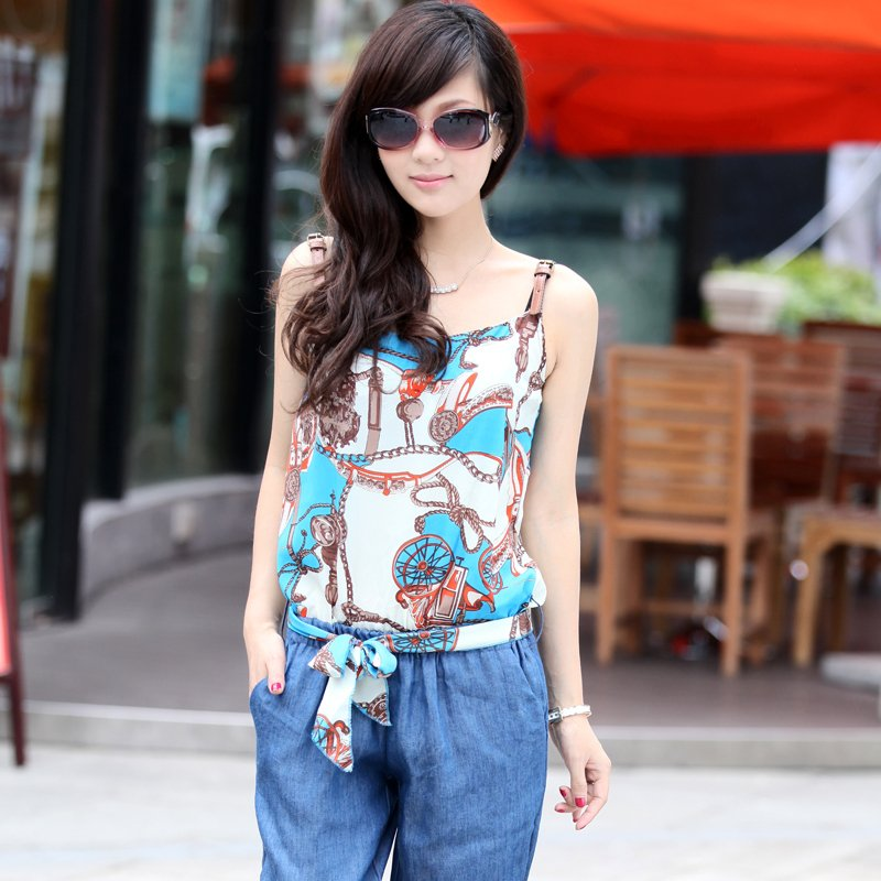 Lady Chiffon Floral Print Spaghetti Shoulder Strap Vest Jumpsuit Long Denim Jeans Free Shipping wbss1307