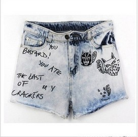 Lady fashion light blue personalized letter, do old cowboy washed denim shorts Free Shipping