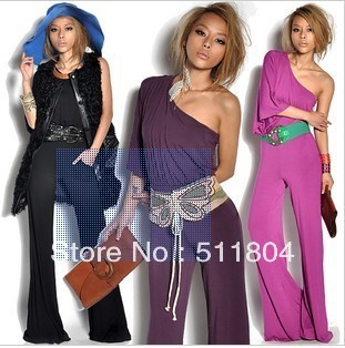Lady Fashion Loose Black/ Rose Red/ Purple One Shoulder Jumpsuit Pants, Free Shipping