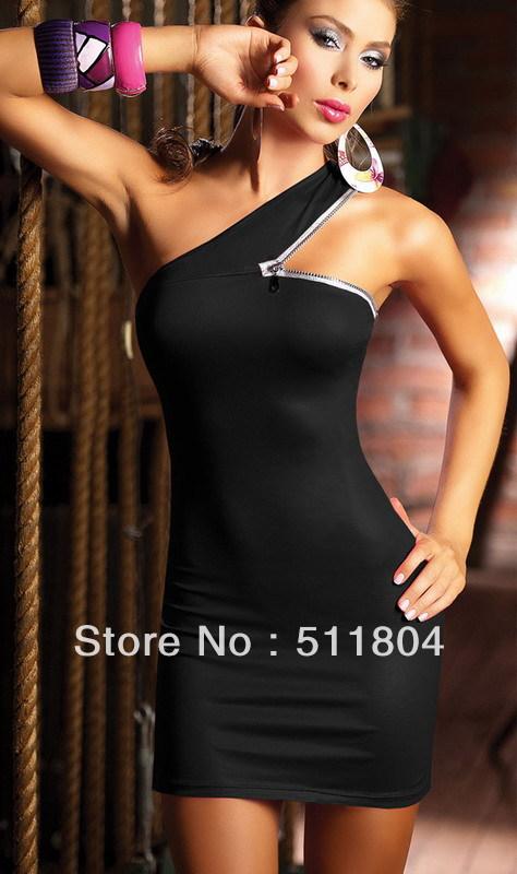 Lady Fashion Zipper Placketing Faux Leather Clubwear - Sexy Slim Black/ Pink One-piece Dress NA9097 - 2