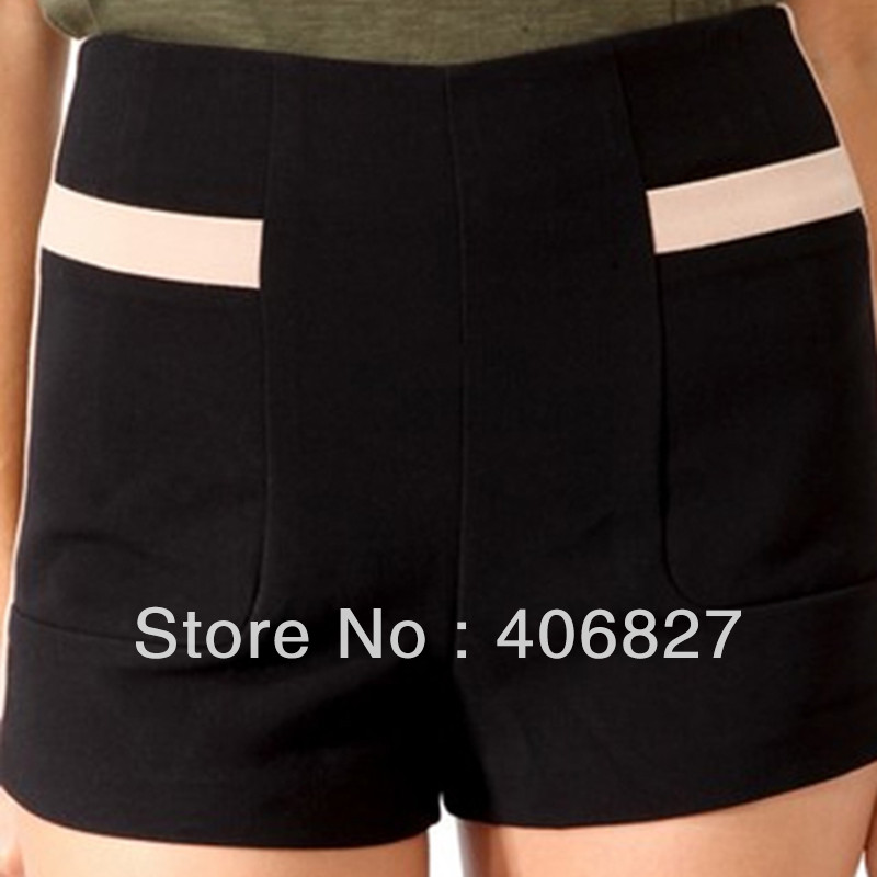 lady pants women shorts Slim casual shorts the stitching high waist straight shorts fall 573a001