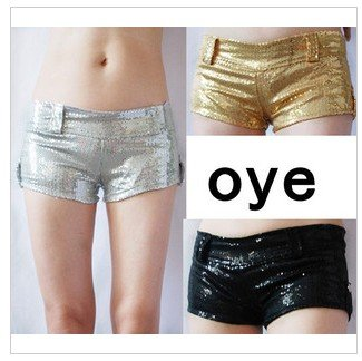 Latest DS dance clothing shop pole-dancing night ultra low waist sexy sequins shorts hot pants