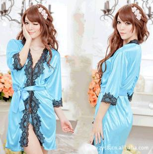 Latest lace 5 color glossy soft multicolor bath robe sexy sexy lingerie + DingZi pants 1159