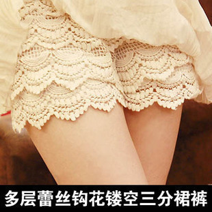 Layers of lace crochet shorts hollow chain link fence cake culottes third of bottoming security pants shorts free shipping
