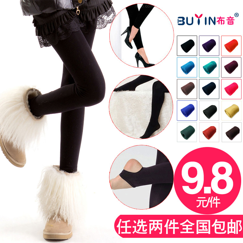 Legging female fleece thermal thick elastic pants step stockings ankle length trousers plus size