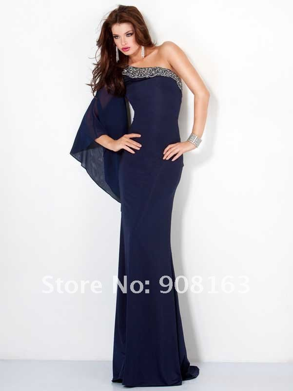 Length Chiffon One shoulder Long Sleeve Extravaganza Wedding Party Dress, Evening Dress 2013 with Stunning Embellishments