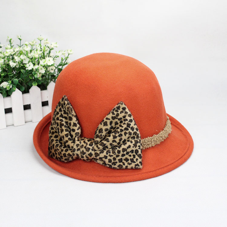Leopard print bow pure wool fedoras women's hat female autumn and winter helmet-hat equestrian cap