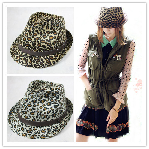 Leopard print two-color classic leopard print pattern fedoras jazz hat female hat