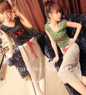 Letter print slim waist pads full dress colorant match dress fashion designer wear dress long dress for women/lady