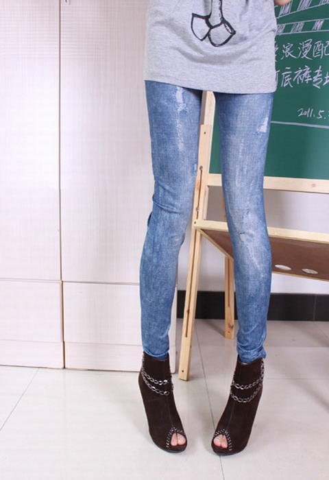 Light color water wash denim socks slim stovepipe pantyhose 7729 - 1