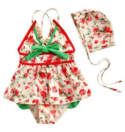 little girls red flower swimsuit 5pcs per/lot,free shipping