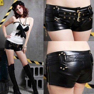 Locomotive Orange Iron Buckle Double Belt Zipper Leather Shorts Hipster Nightclub Sexy Costumes Leather Shorts Free Shipping