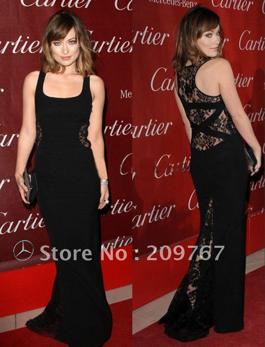 Long  Celebrity Dresses Popular Prom/Evening Gown olivia wilde black dress Square Sheath Back With Lace