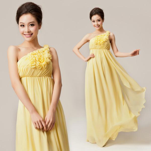 Long design bride wedding dress bridesmaid married oblique evening dress one shoulder tube top evening dress