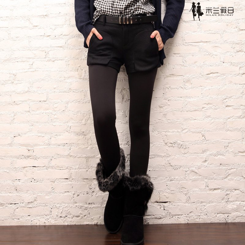 Long quality woolen all-match shorts woolen shorts with belt