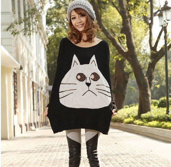 Loose rabbit wool batwing coat order bead big face in cat grows long sleeve sweater