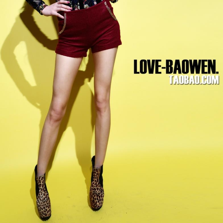 LOVE_BAOWEN. 2013 winter new restore ancient ways chain cloth blended show thin zipper sexy shorts